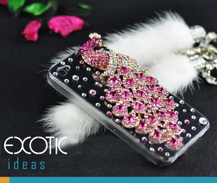 Fine Crystal Rhinestone 3D Apple iPhone 4 4S Skin Case Cover - Pink Peacock with Clear Case