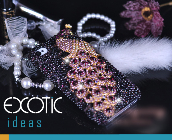 Fine Crystal Rhinestone 3D Apple iPhone 4 4S Skin Case Cover - Purple Peacock with Purple Leopard Texture