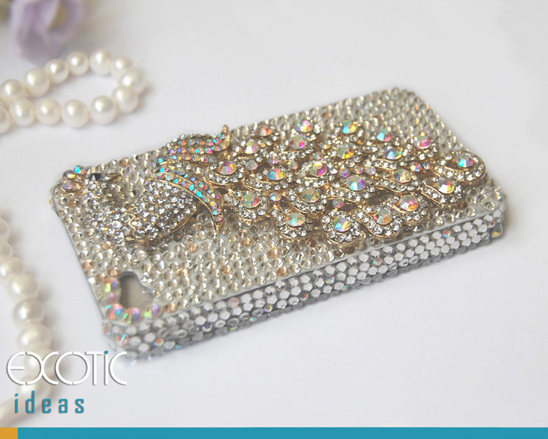 3D Fine Crystal Rhinestone Apple iPhone 4 4S Skin Case Cover - White Crystal Peacock  with Clear Crystal Base