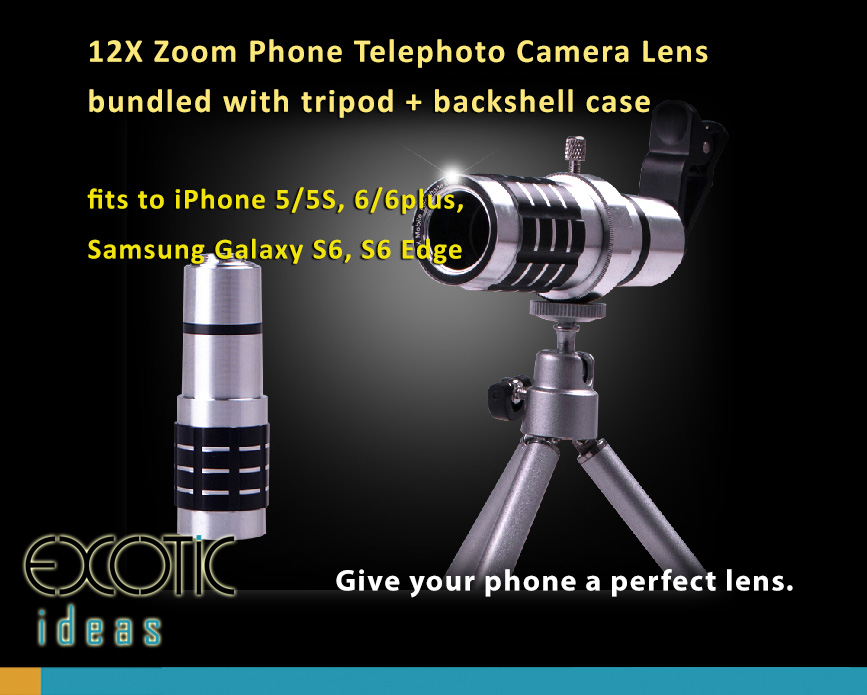 12X Wide Angle 21mm Telephoto Lens bundled with tripod, fits to iPhone 5/5S, 6/6plus, Samsung Galaxy S6