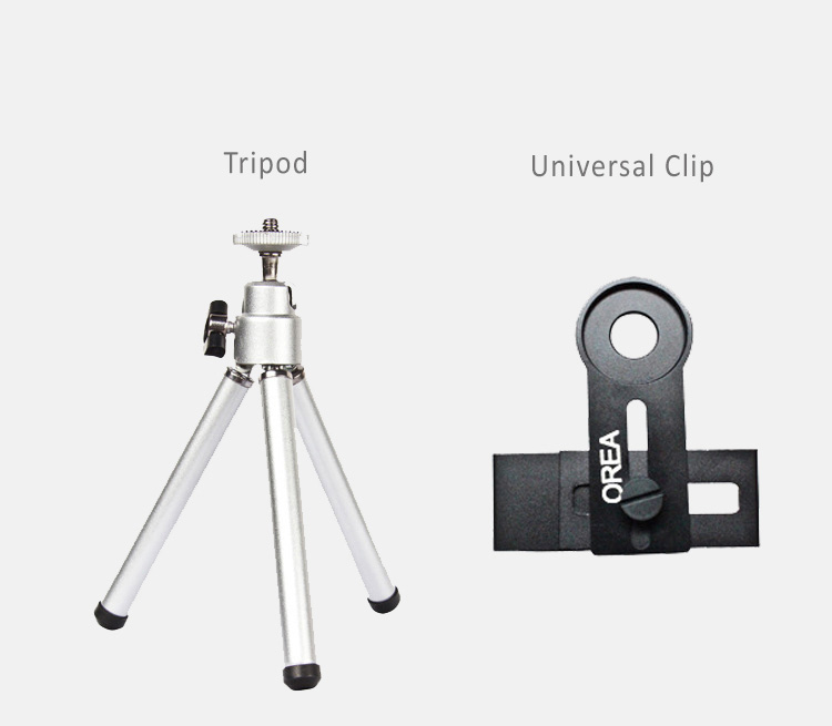 "Orea 12.5X macro lens gives your smartphone magical power to take quality photos for close objects.Bundled with universal clip and tripod Fits to 3.5""-6"" smartphones"