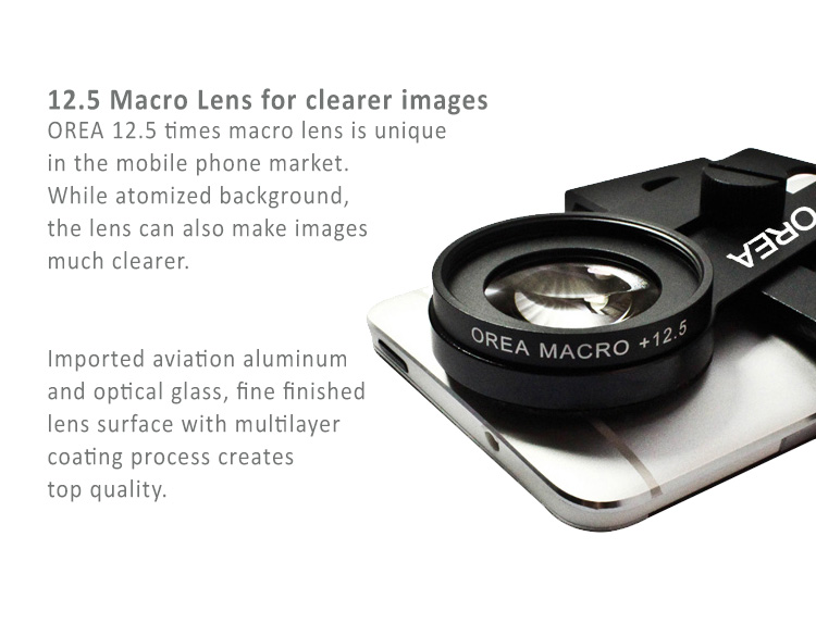 """Orea 12.5X macro lens gives your smartphone magical power to take quality photos for close objects.Bundled with universal clip and tripod Fits to 3.5""""-6"""" smartphones"""
