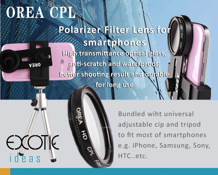 "Orea Polarizer Filter Lens (CPL) for smartphones, High transmittance optical glass, anti-scratch and waterproof. Bundled with universal clip and tripod Fits to 3.5""-6"" smartphones"