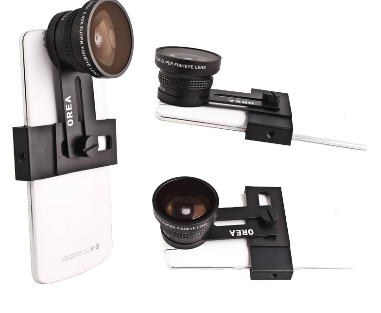 "Orea 12.5X macro lens + 0.42 Super Fisheye Lens 180 Degree , gives your smartphone magical power. Bundled with universal clip and tripod Fits to 3.5""-6"" smartphones"