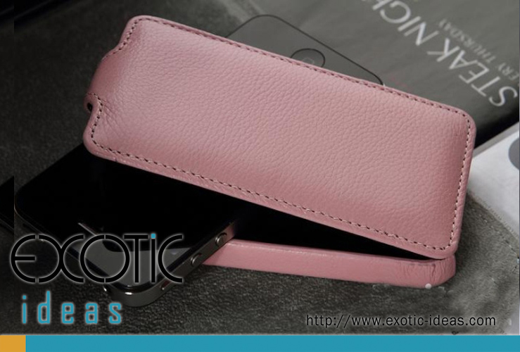 iPhone 4. 4S Case Skin with  Flip Cover - Luxury Hand-Made Genuine Lambskin Leather Flip Case - Pink Color