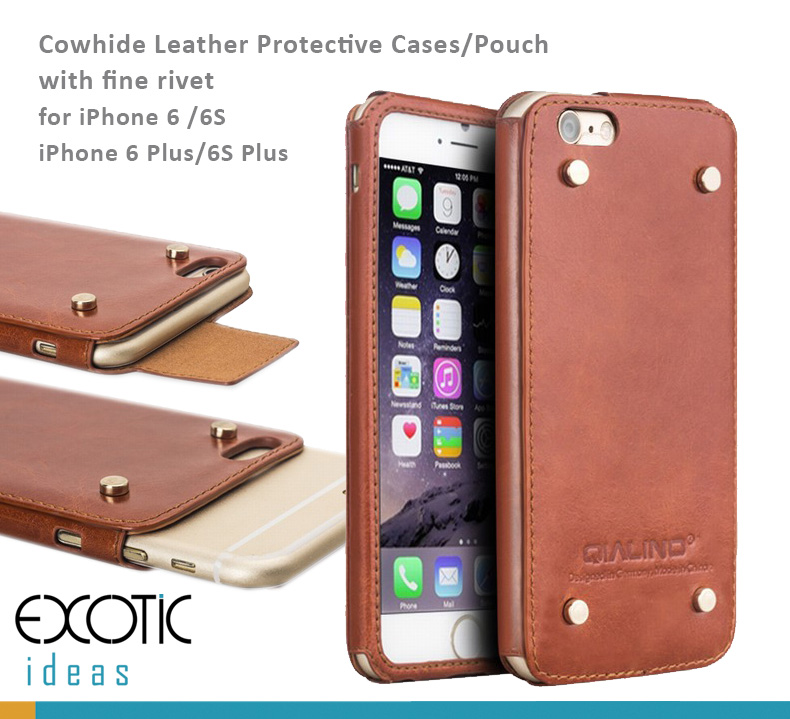 Genuine Selected Cowhide Leather Protective Cases/Pouch with Rivet for iPhone 6/6 Plus iPhone 6S/6S Plus