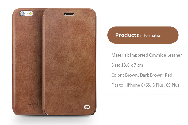Imported Genuine Cowhide Leather Protective Case with Flip Cover for iPhone 6/6S - Ulta thin and light design, Auto Sleep/Awake Feature