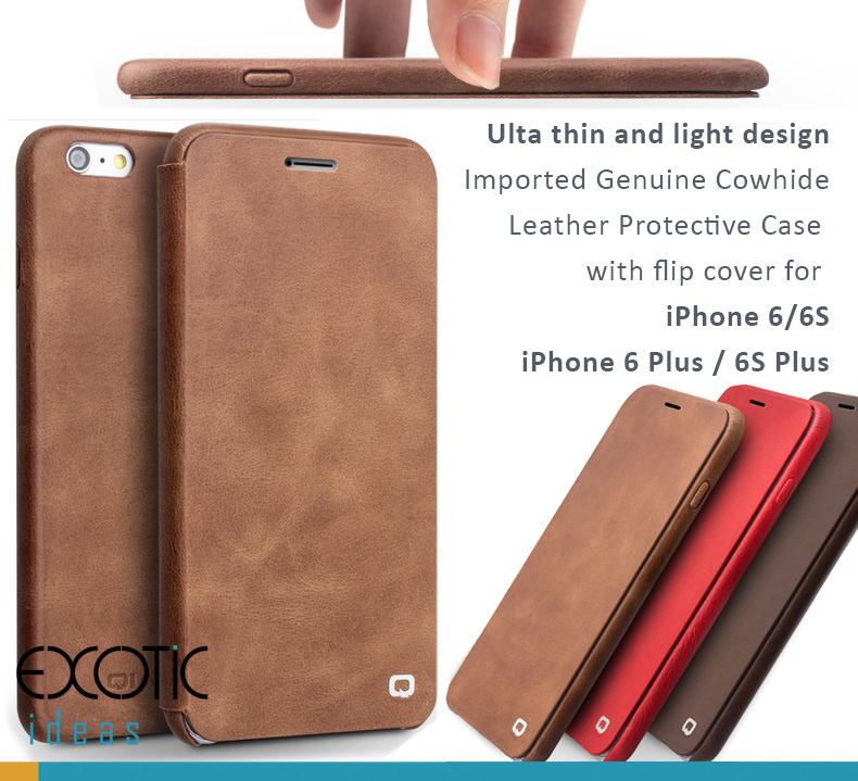 Imported Genuine Cowhide Leather Protective Case with Flip Cover for iPhone 6/6S, iPhone 6 Plus/6S Plus - Ulta thin and light design, Auto Sleep/Awake Feature