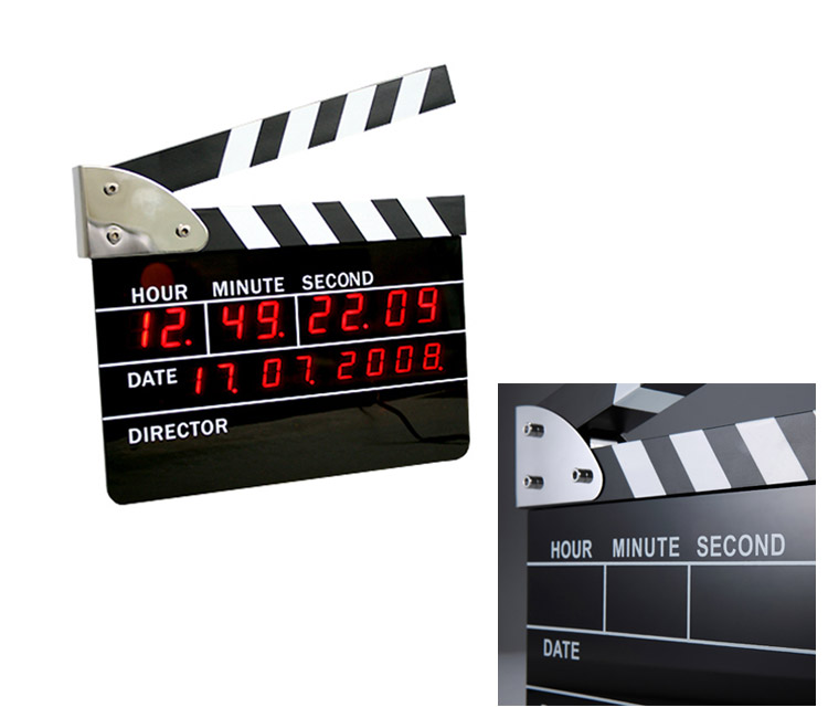 Movie Slate Clapper Board LED Digital Wall Clock with Calandar, Alarm, Snooze Features - Small version: 8.8*10.5*2CM