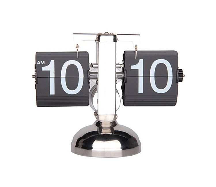 Single Stand Stainless Auto Flip Desk Clock Retro Style, Black and White