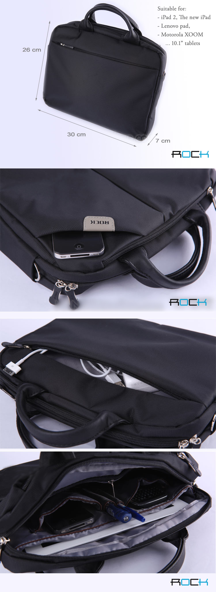 ROCK iPad 2 / The new iPad (iPad 3) and PC Tablet  Sleeve Bags - Nylon jacquard with watertighting 210D lining, Anti-shock, Durable