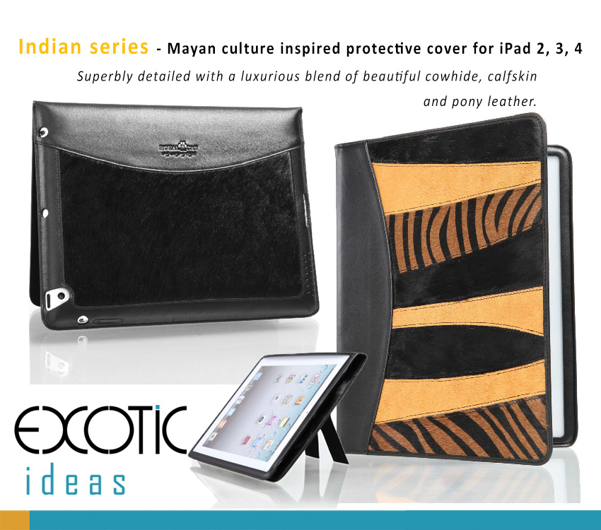 Protective Case Bag for iPad mini, iPad mini Retina - Royal Cat  Indian Series Genuine Cowhide Calfskin Leather and Pony Leathers Blended Design