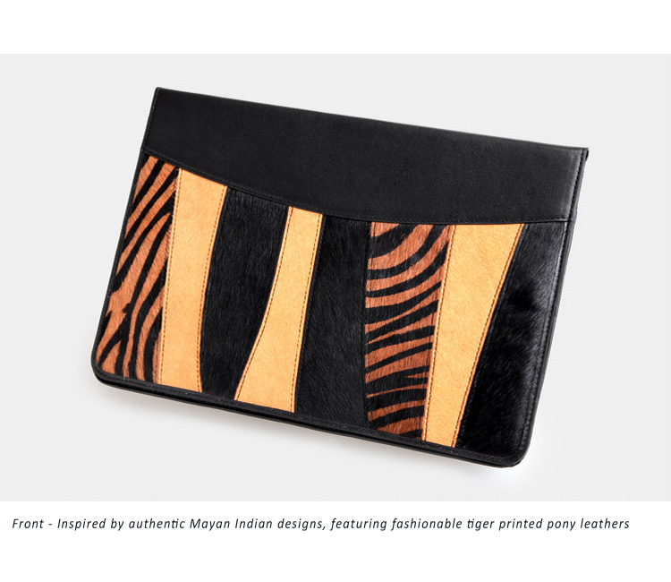 Protective Case Bag for Samsung Galaxy Tab2 - Royal Cat  Indian Series - Genuine Cowhide Calfskin Pony Leathers Blended Design