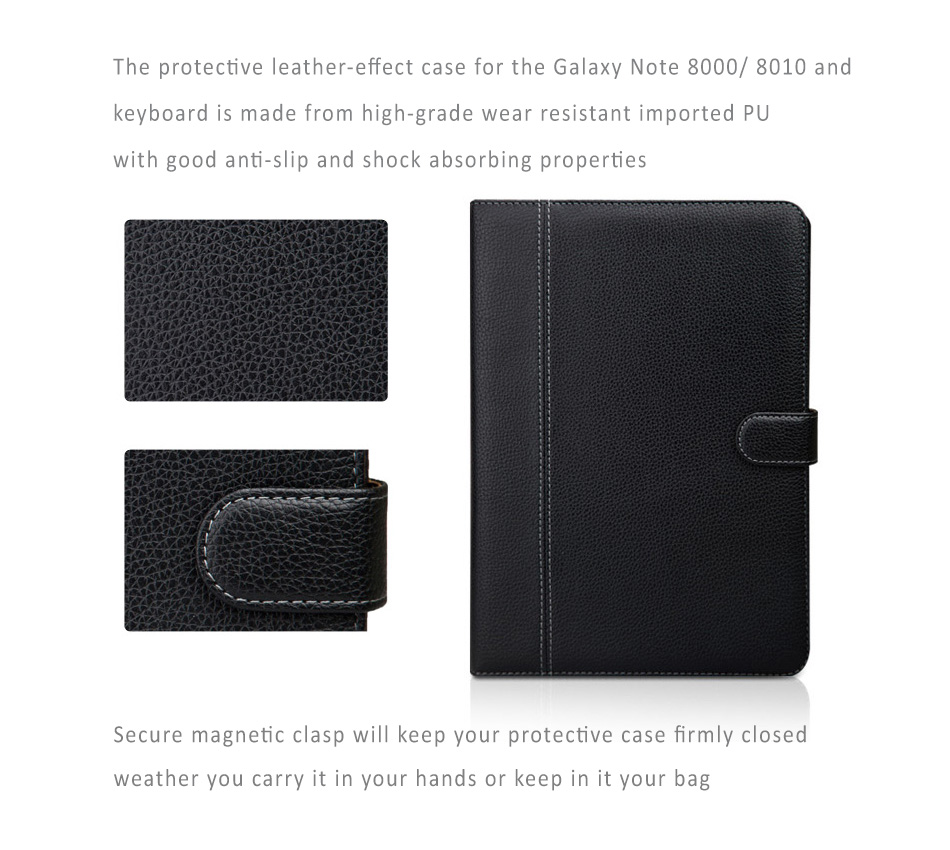 Seenda Quality PU Leather Cover with Detachable / Removable Bluetooth Keyboard for Samsung Galaxy Note 10.1 / 8000/ 8010 with Built-in Stand