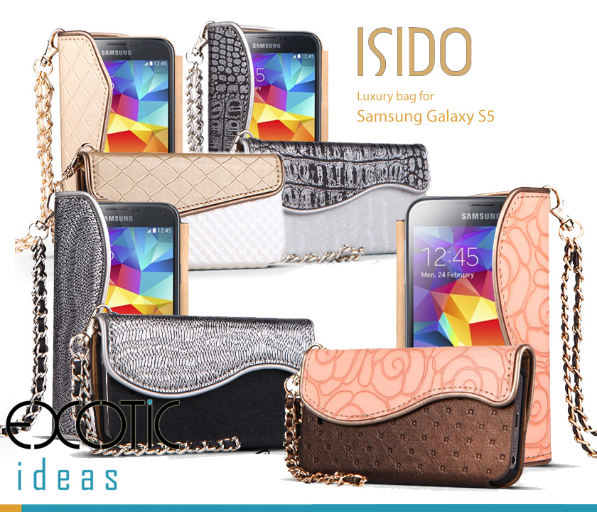 isido Samsung Galaxy S5 i9600 Phone Case Skin - Luxury Handbag Style- Genuine Leather with 8 Types of Grain Design