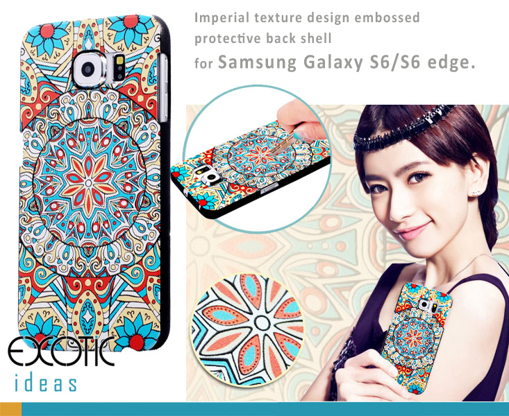 Embossed Imperial texture design protective back shell cases for Samsung Galaxy S6/S6 edge.Made of bendable German Bayer PC, Anti-scratch, Washable,