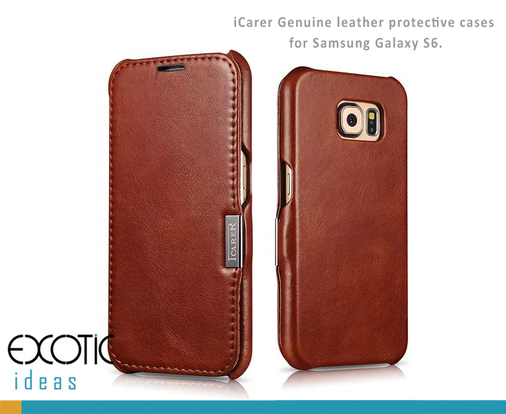 icarer Genuine Leather Protective Cases with Flip Cover for Samsung Galaxy S6/S6 edge
