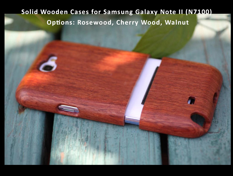 Solid Wooden Cases for Samsung Galaxy Note II (N7100)  Options: Rosewood, Cherry Wood, Walnut