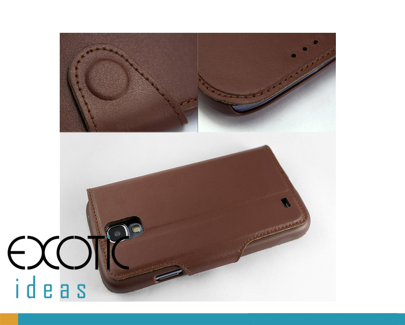 iBao Samsung Galaxy S4 i9500 Phone Genuine Leather Case Skin - Stand feature and Magnetic Buckle-up