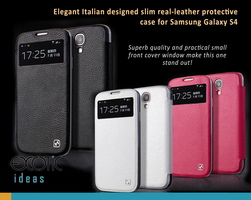 Samsung Galaxy S4 i9500 Classic Genuine Leather w Flip Cover and Front Small Window