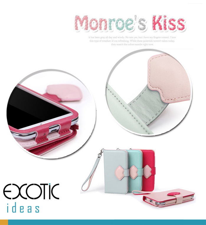 8thDays Monrose's Kisses Series- Samsung Galaxy Note II, N7100 Case Skin -  with Cover, Stand Feature