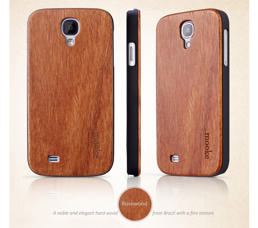 Real Wooden Covers, Skin for Samsung Galaxy S4 i9500 - Rosewood, Walnut, Cherry, White Maple