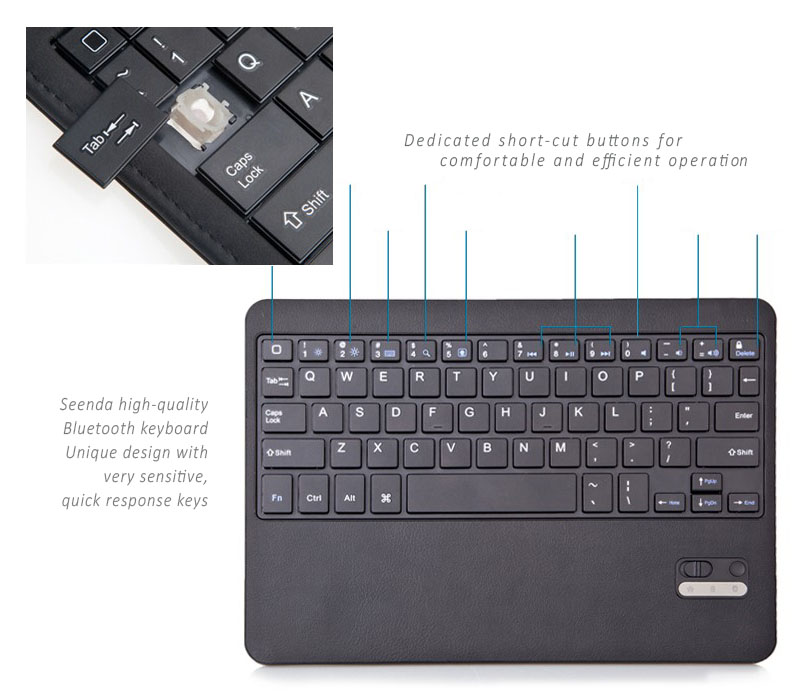 Seenda Ultra Slim Leather Cover with Detachable / Removable Bluetooth Keyboard for iPAd Air
