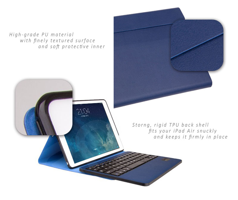 Seenda Ultra Slim Leather Cover with Detachable / Removable Bluetooth Keyboard for iPAd Air 2