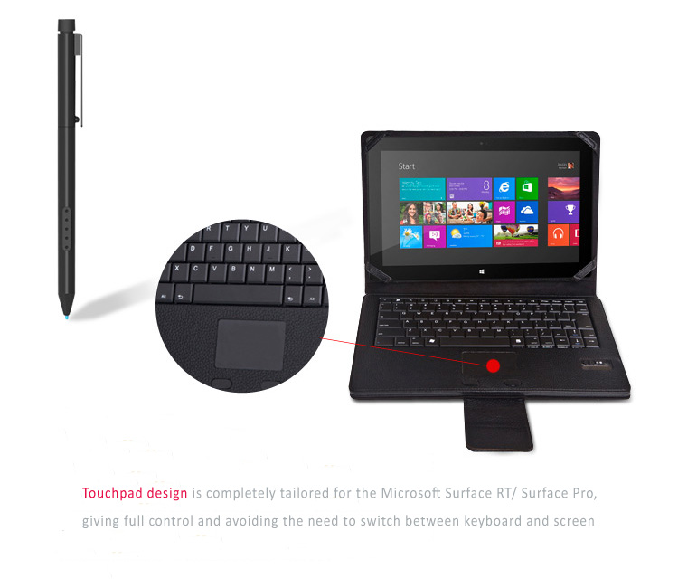 Seenda Fine Leather Cover Case with Removable/Detachable Bluetooth 3.0 Keyboard with touchpad for Microsoft Surface Surface Pro 3