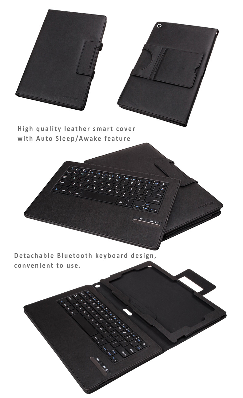 Seenda Fine Leather  Smart Cover Case with Removable/Detachable Bluetooth 3.0 Keyboard for Sony Xperia Tablet Z2 10.1