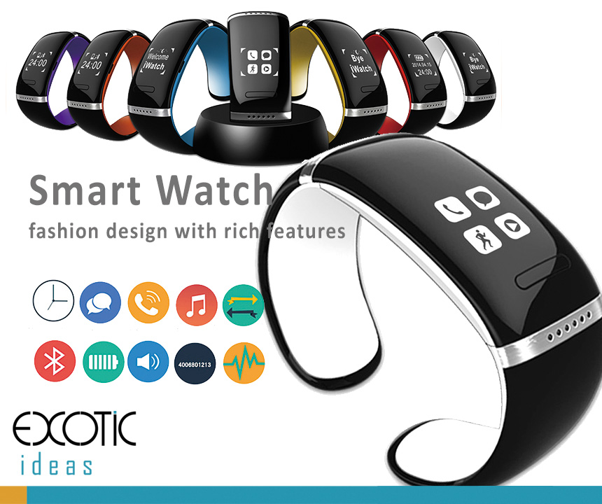 Bluetooth Smart Bracelet Watch OLED touch screen. Comprehensive feattures - Time, Pedometer, Hands-free calls, Mobile Sync Music Player, Tracking, SMS...etc.