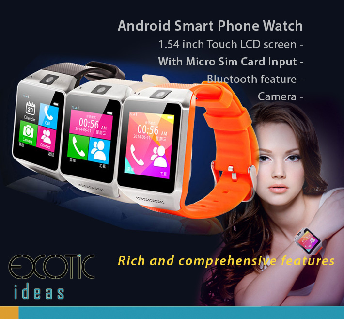 Smart Watch Phone with Sim Card Input, Bluetooth , Wifi, TFT Touch Screen. Comprehensive features - Phone, Time, Pedometer, Hands-free calls, Mobile Sync, Music Player, Messages for Skype, Facebook...etc.