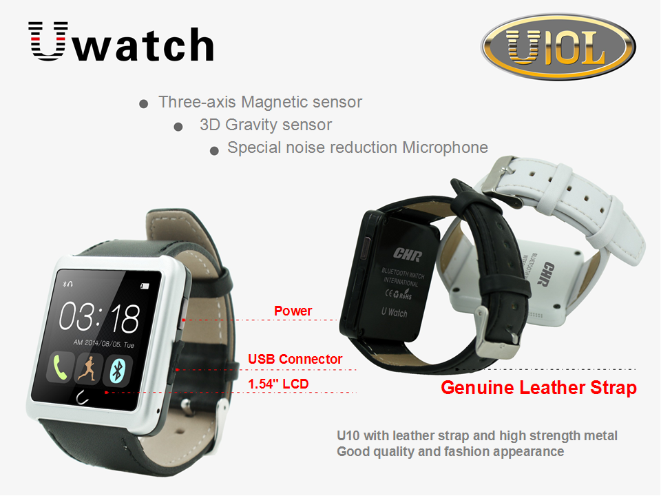 U Watch - U10- Bluetooth Smart Watch OLED touch screen, With Genuine Leather Strap. Comprehensive features - Time, Pedometer, Hands-free calls, Mobile Sync, Music Player, Messages for Skype, Facebook, Compass...etc.
