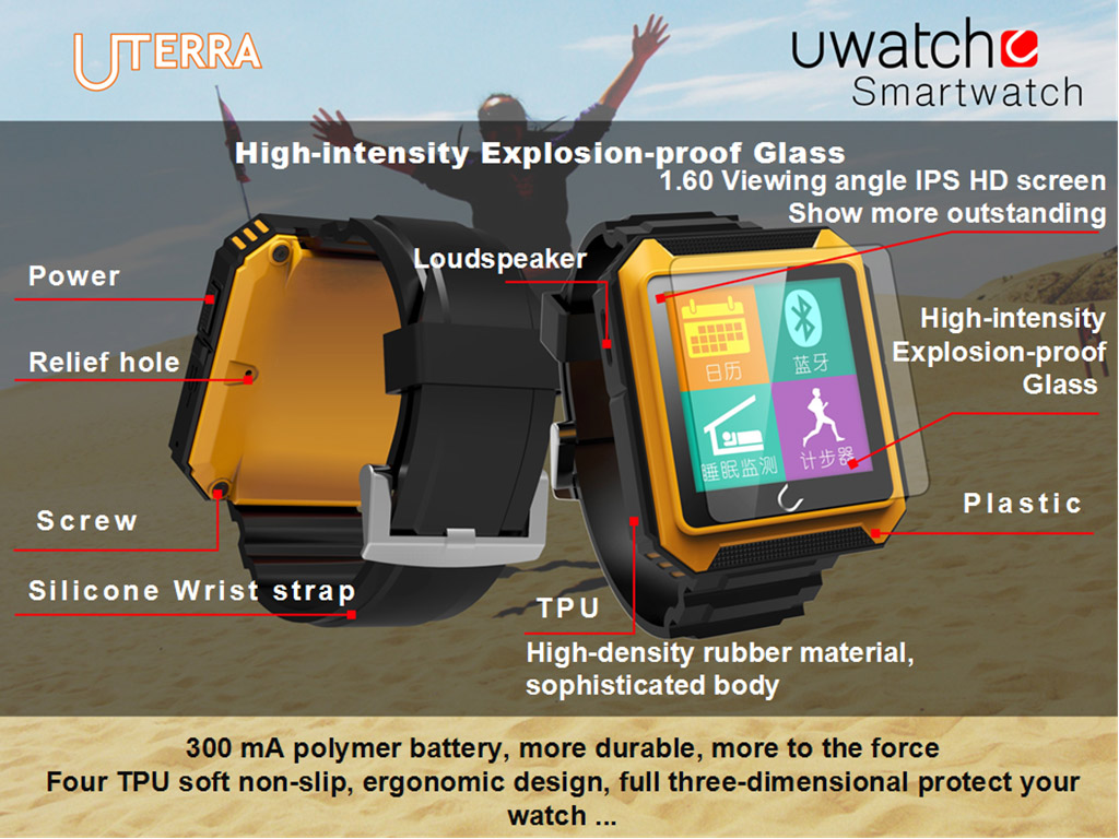 U Watch masterpiece - U Terra - Bluetooth Sports Smart Watch with OLED touch screen, IP68 waterproof, shockproof. Comprehensive features - Time, Pedometer, Hands-free calls, Mobile Sync, Music Player, Messages for Skype, Facebook, Compass...etc. for Andriod and iOS