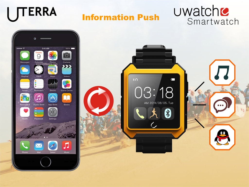 U Watch masterpiece - U Terra - Bluetooth Smart Watch OLED touch screen, IP68 waterproof, shockproof. Comprehensive features - Time, Pedometer, Hands-free calls, Mobile Sync, Music Player, Messages for Skype, Facebook, Compass...etc. - Android and iOS fully compatibleU Watch masterpiece - U Terra - Bluetooth Sports Smart Watch with OLED touch screen, IP68 waterproof, shockproof. Comprehensive features - Time, Pedometer, Hands-free calls, Mobile Sync, Music Player, Messages for Skype, Facebook, Compass...etc. for Andriod and iOS