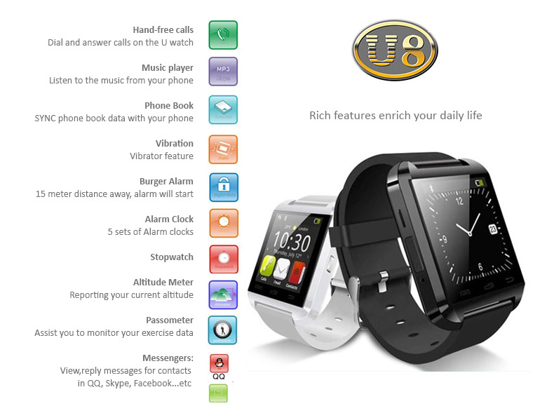 U Watch - U8 - Bluetooth Smart Watch OLED touch screen, Waterproof. Comprehensive feattures - Time, Pedometer, Hands-free calls, Mobile Sync, Music Player, Messages for Skype, Facebook...etc.