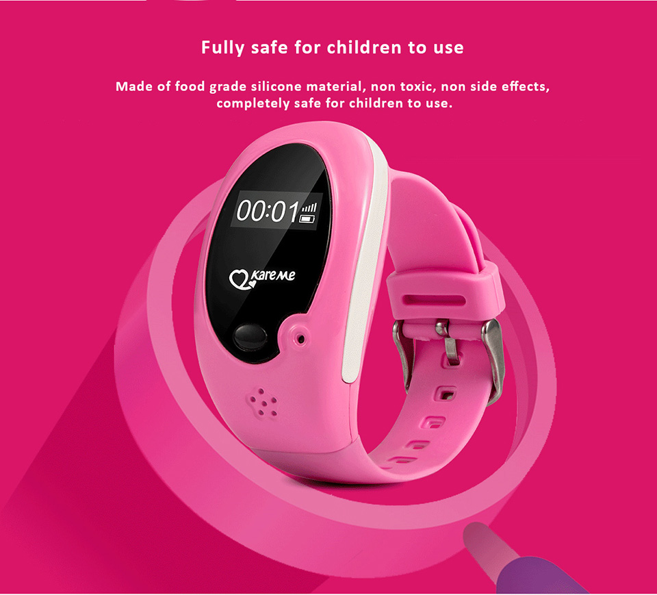 Kareme Children Smartwatch - Comprehensive features to guard your kids - GSM, GPS/AGPS/LBS tracking, SOS, e-Fence, 3 month path tracks, Anti-lost...etc.
