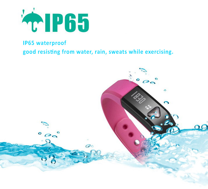 Bluetooth Smart Bracelet Watch OLED screen. Extra Light Sports Bracelets - Only 18g Steps, miles,calories Counts, Sleep monitor, IP65 Waterproof, Data SYNC, Vibrating alarms