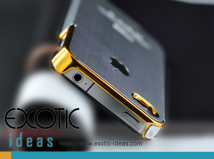iPhone Balck Steel Case - Gold Ring