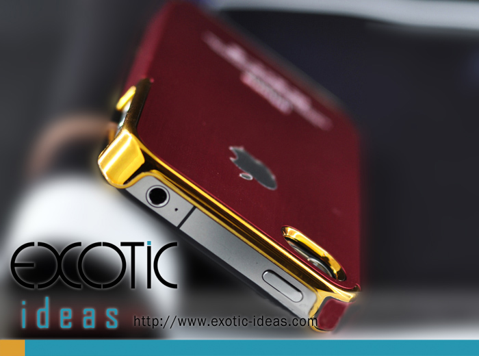 iPhone Red Steel Case - Gold Ring