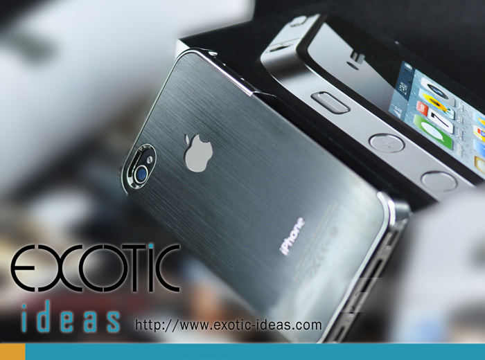 iphone 4 case black steelcase with silver ring