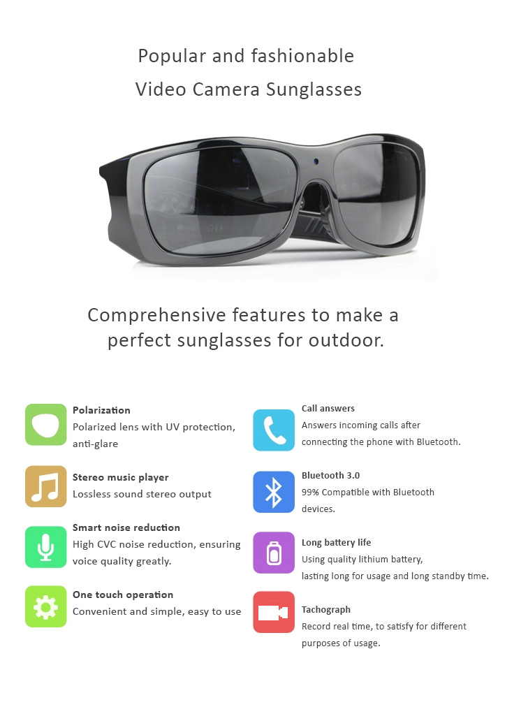 UV400 Polarized Video Sunglasses with Stereo Heaphone for Driving and Outdoor Activities, supports A2DP Lossess Music, Call Answers, Tachograph Camera Recorder, Bluetooth...etc. features.