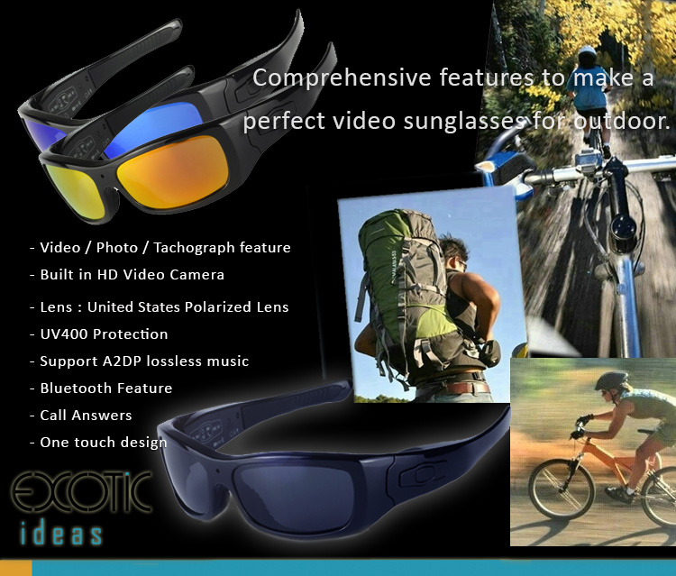 UV400 Polarized Video Sunglasses for Driving and Outdoor Activities with MP3 Player, Call Answers , Tachograph Camera Recorder, Bluetooth...etc. features.