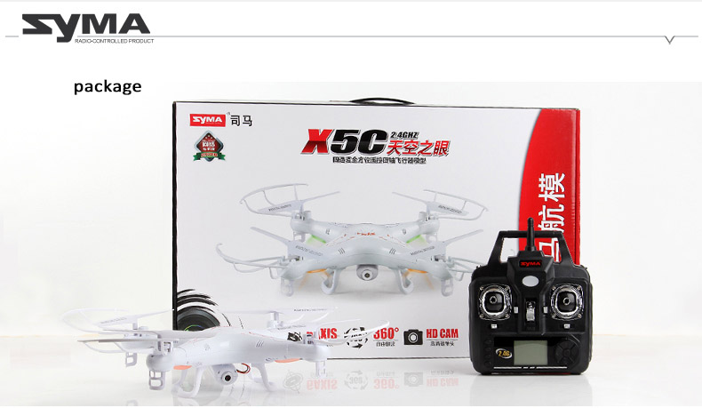 Syma X5C 2.4Ghz 6-axis gyroscope RC Quadcopter Drone with 2M Pixel HD Camera