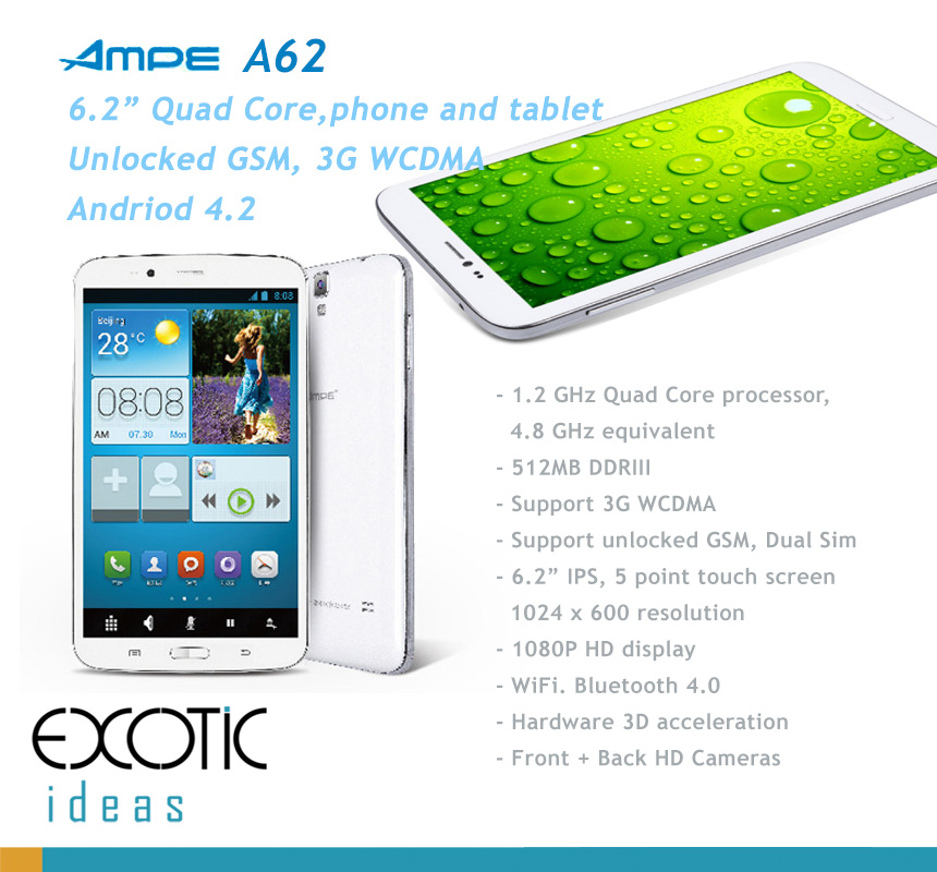 AMPE A62- 6.2 Inch Quad Core Tablet and Phone in One - Android 4.2,  IPS 5 point touch screen, Dual Sim Card Unlocked GSM/ WCDMA 3G WiFi, Bluetooth,GPS, 3D acceleration
