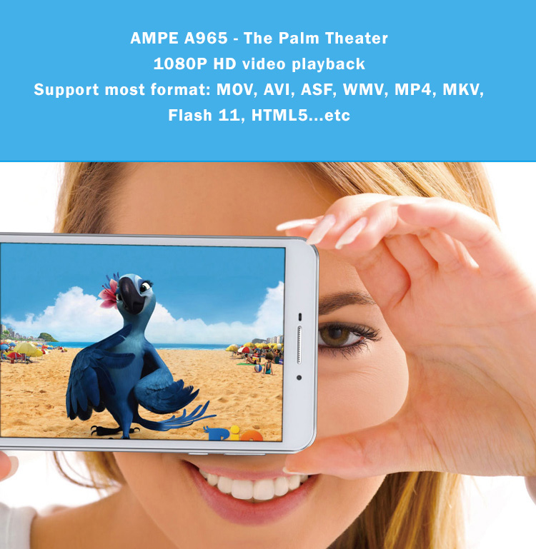 AMPE A695- 6.95 Inch Quad Core Tablet Phone - Palm Theater -  Android 4.4.4,  IPS 5 point touch screen, Dual Sim Card Slots, Unlocked GSM / WCDMA 3G WiFi, Bluetooth,GPS