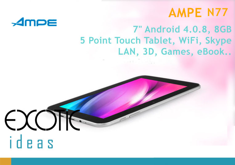 "SANEI N77, 7"" A13 Android  4.0.8 Tablet, 5 Point Touch Tablet, 8GB,WiFi, LAN, 3D, Skype, Games, eBook"