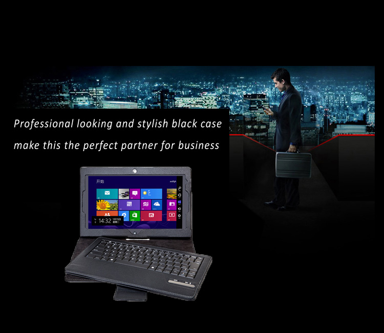 Seenda Leather Smart Cover with Detachable / Removable Bluetooth Keyboard for ThinkPad Tablet 2