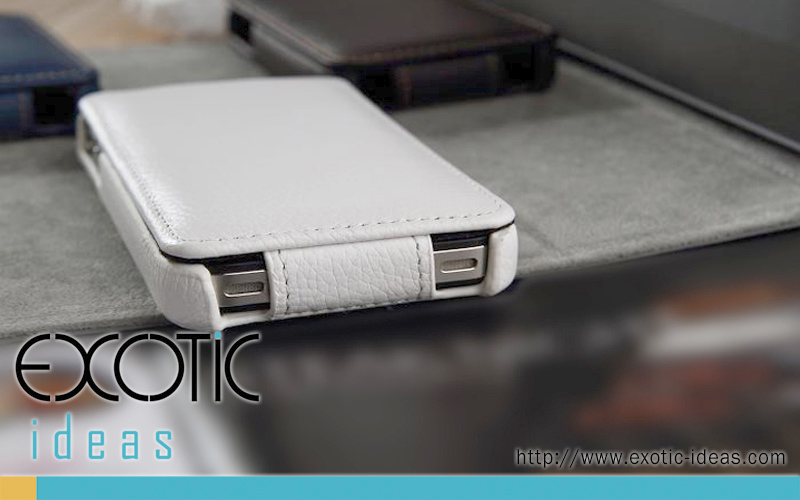 iPhone 4. 4S Case Skin with  Flip Cover - Luxury Hand-Made Genuine Lambskin Leather Flip Case - White Color