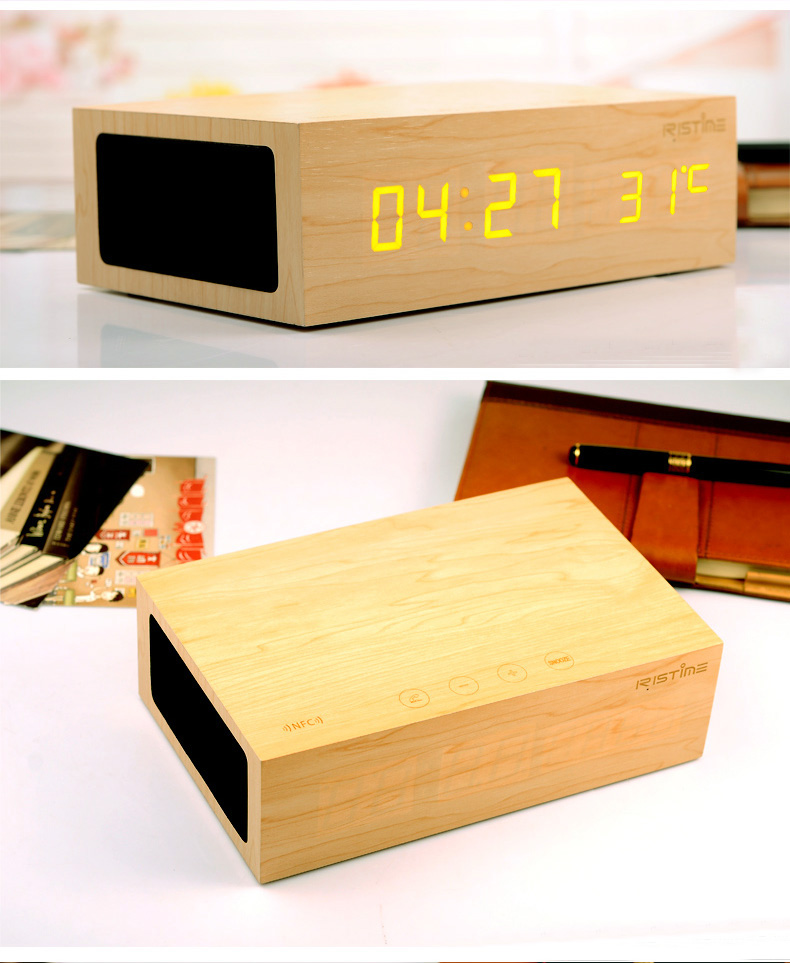 Wooden LED clock with bass enhanced speaker, NFC+CRS 4.0 Bluetooth MP3 player, Touch feature. Red Dot award product.